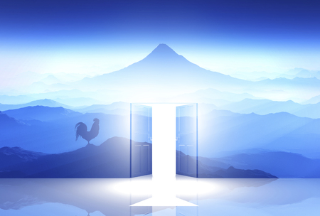 3D illustration of dawn of Mt.fuji and chicken