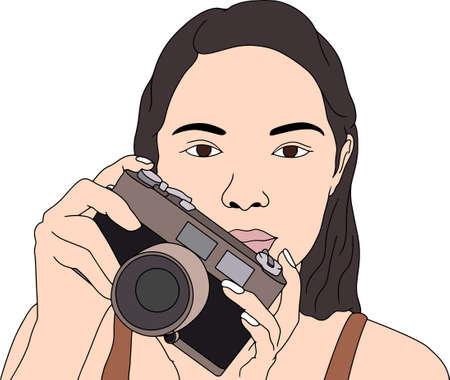 girl holding the camera in hand. Flat hand-drawn character vector illustration on transparent background. Ilustração Vetorial