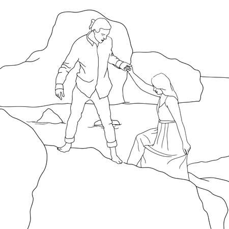Coloring Pages - flat illustration of men helping women to climb on big beach stones.Flat hand-drawn character vector illustration on transparent background.
