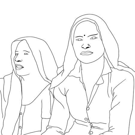 Coloring Pages - two poor Indian women hand-drawn illustration. girl holding the camera in hand. Flat hand-drawn character vector illustration on transparent background.