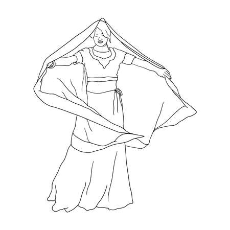 Coloring Pages - Hand-Drawn illustration of Indian women in traditional Indian dress. Flat hand-drawn character vector illustration on transparent background.