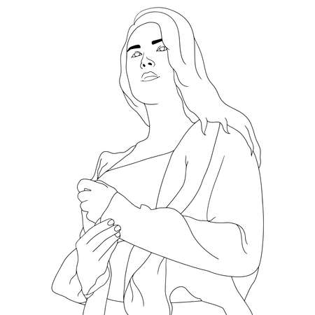 Coloring Pages - beautiful attractive women flat hand-drawn vector illustration. Flat hand-drawn character vector illustration on transparent background. Ilustração Vetorial