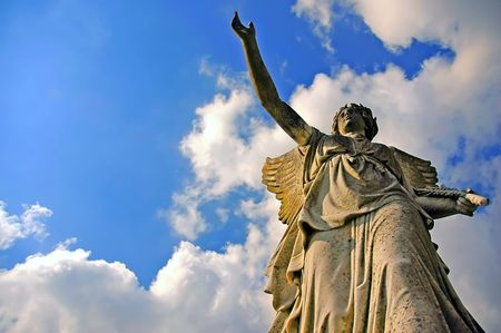 prevail: angelic victory statue on the blue sky background