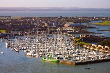 marina: Harbour full of ships in Portsmouth, Southern England Stock Photo