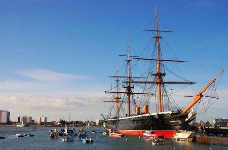 hms: HMS Warrior, built in 1860, the worlds first ironclad warship, Portsmouth, Southern England Stock Photo