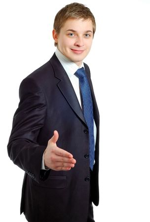 strong message: Businessman offering a handshake Stock Photo