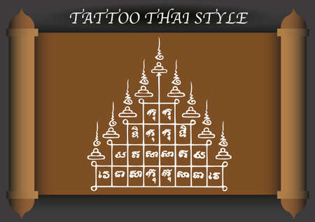 thai style: Thai Tattoo Ancient style. Vector template