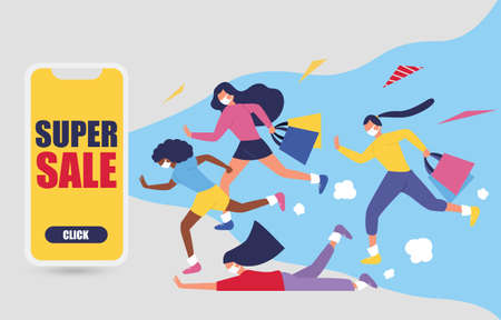 Sale online promotion with happy girl and gift on mobile phone design for banner sale with lovely women running go to shopping in abstract background.and colorful shirt. Vector illustration. 矢量图像