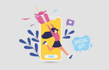 Sale online promotion with happy girl and gift on mobile phone design for banner sale with lovely women running go to shopping in abstract background.and colorful shirt. Vector illustration. 免版税图像 - 157560986