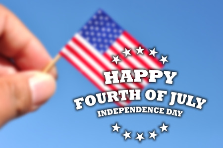 happy fourth of july  independence day usa card de focused flag in blue sky background