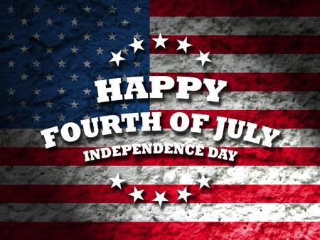 幸せな 7 月 4 日の独立記念日アメリカはグランジ フラグ背景をカードします。