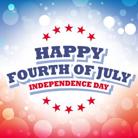 7 월 독립 기념일 미국 카드 벡터 추상적 인 배경의 행복 네 번째