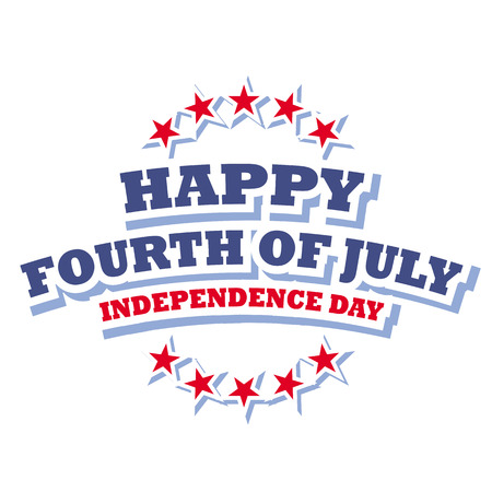 happy fourth of july  independence day usa logo vector isolated on white background