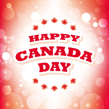 happy canada day card vector abstract flag background Illustration