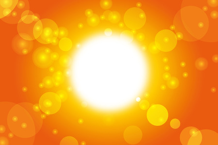 Summer background with abstract orange warm sun and lens flare