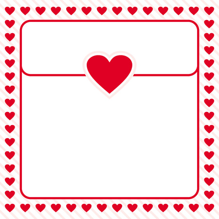 love letter: diseño rojo del corazón marco de la frontera del vector para el día de San Valentín, carta de amor, tarjeta de amor, nota del amor Vectores