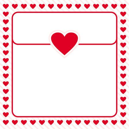 red heart border frame vector design for valentines day, love letter, love card, love note Stock Illustratie