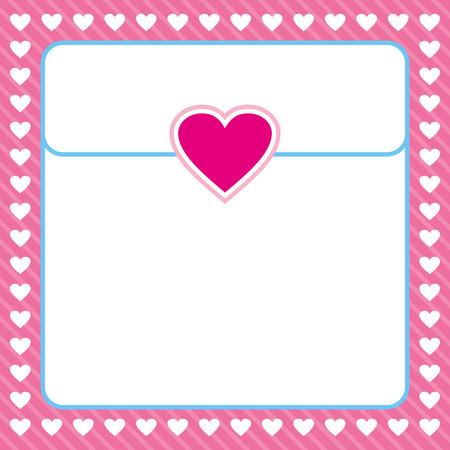 valentine card: pink heart border frame vector design for valentines day, love letter, love card, love note Illustration