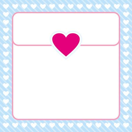 love letter: diseño rosado y azul borde del corazón del vector del marco para el día de San Valentín, carta de amor, tarjeta de amor, nota del amor
