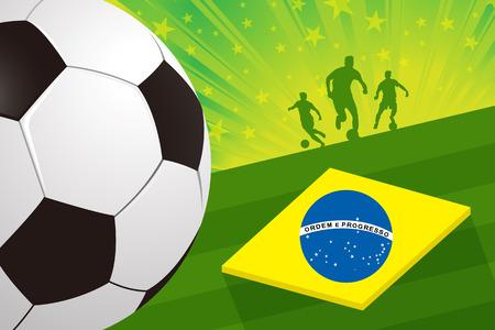 green fields: brazil soccer player ball on green field background with brazilian flag vector Illustration