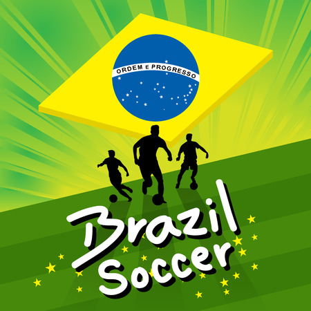 green field: brazil soccer player ball on green field background with brazilian flag vector Illustration