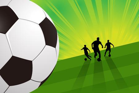 green field: soccer player ball on green field light background vector