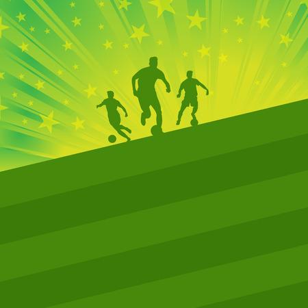 green fields: soccer player ball on green field light background vector