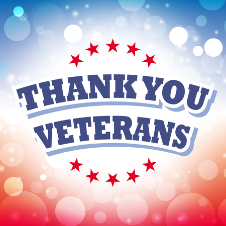 honoring: thank you veterans card vector on celebration background