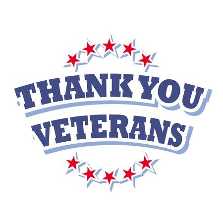 thank you veterans logo vector isolated on white background Illustration