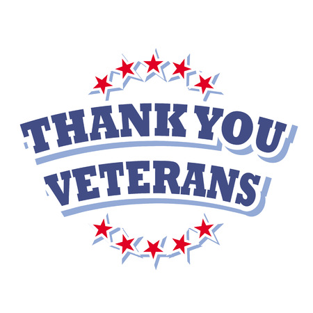 thank you veterans logo vector isolated on white background Ilustracja