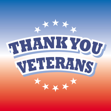 thank you veterans on blue and red banner vector Illustration