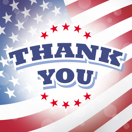 veterans day: thank you card american flag background
