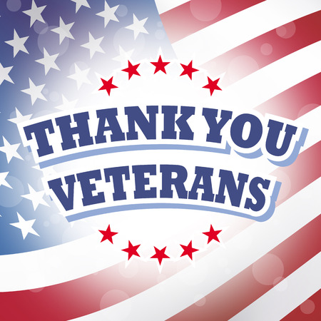 thank you veterans card american flag background
