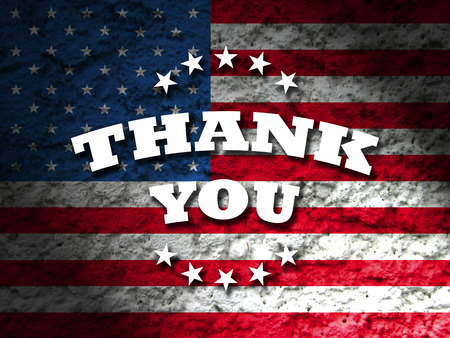 heroes: thank you card american flag grunge background Stock Photo