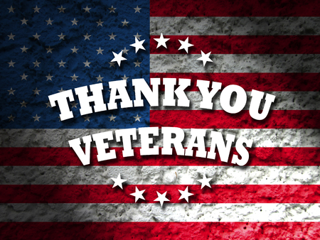 remembrance day: thank you veterans card american flag grunge background