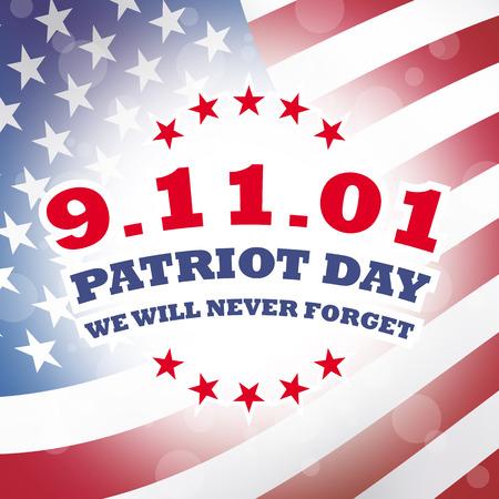 september 11: usa september 11 - patriot day banner illustration