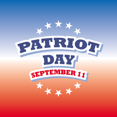 11: usa patriot day september 11 on blue and red banner vector