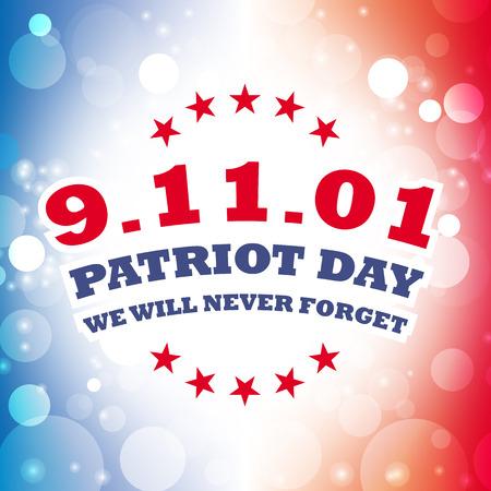 in september: america september 11 patriot day card vector