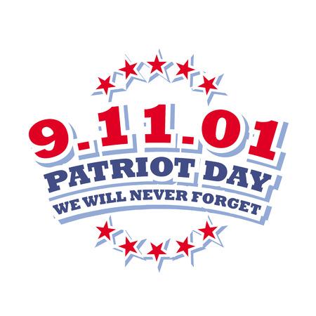america september 11 - patriot day isolated on white background 向量圖像