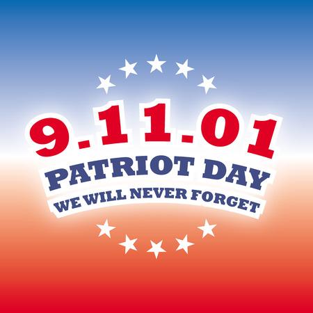 september 11: usa september 11 - patriot day on blue and red banner vector Illustration