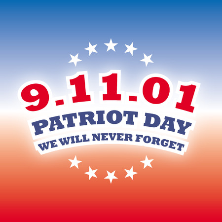 usa september 11 - patriot day on blue and red banner vector Иллюстрация