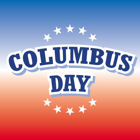 columbus: columbus day on blue and red banner vector Illustration
