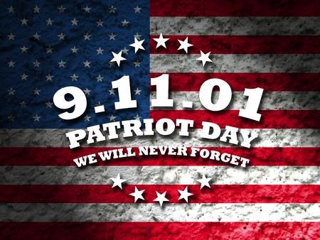 アメリカの 9 月 11 日 - 愛国者日カード アメリカ国旗背景 写真素材