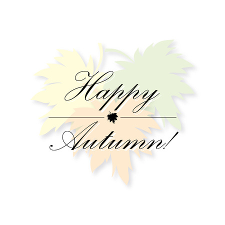 fall leaves on white: happy autumn greeting card vector leaves background isolated on white