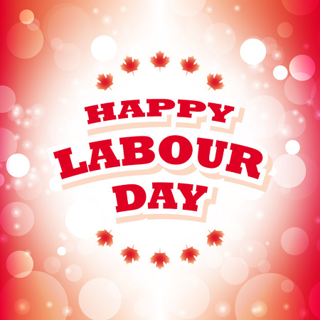 labour day: canada happy labour day greeting card abstract flag background vector