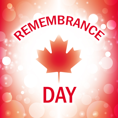 remembrance day: remembrance day canada greeting card abstract canadian flag background vector Illustration