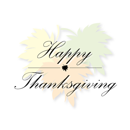 happy thanksgiving: happy thanksgiving card vector maple leaf background
