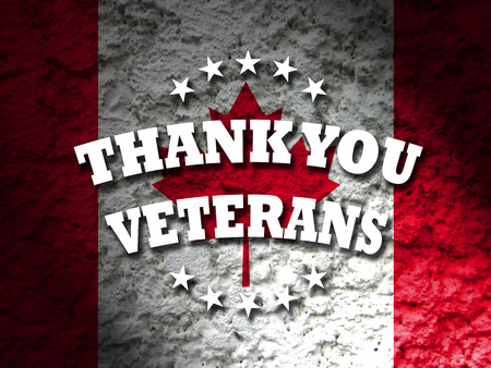 remembrance day: canada thank you veterants banner canadian flag abstract grunge background