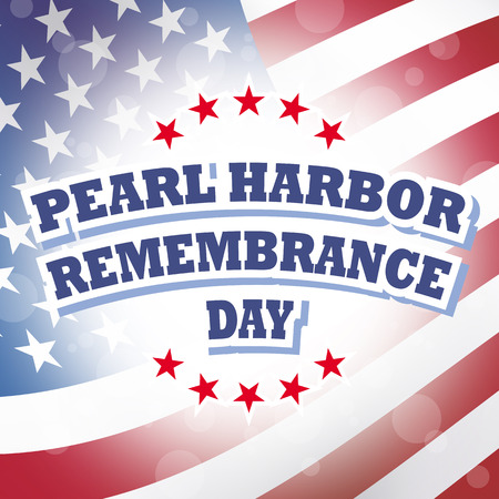 pearl harbor: pearl harbor remembrance day banner sign american flag background illustration