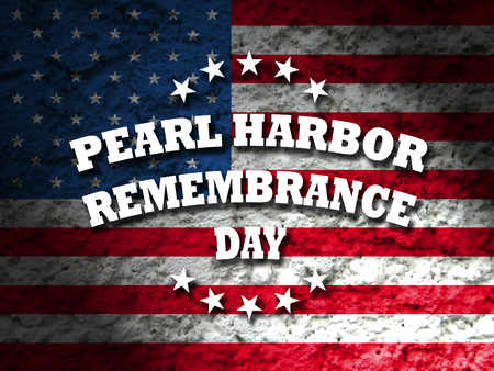 pearl harbor remembrance day banner sign american flag grunge background illustration Stock Photo